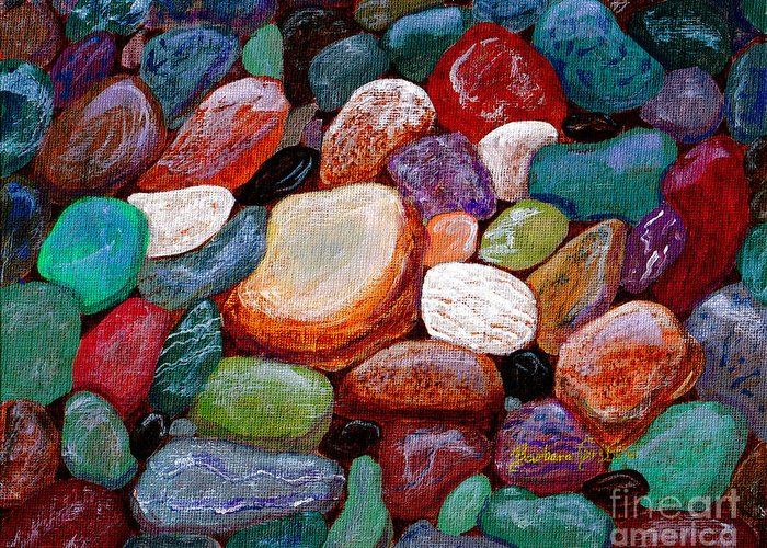 Gemstones Greeting Card featuring the painting Gemstones by Barbara Griffin
