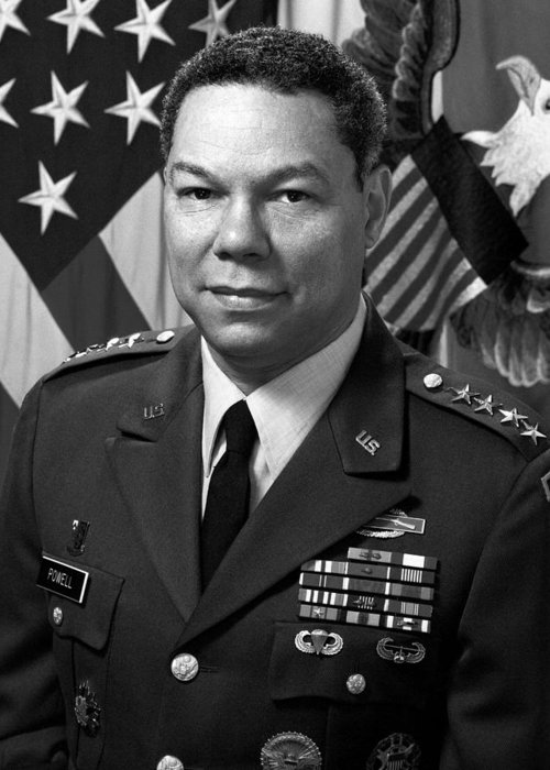 Colin Powell Greeting Card featuring the photograph General Colin Powell by War Is Hell Store