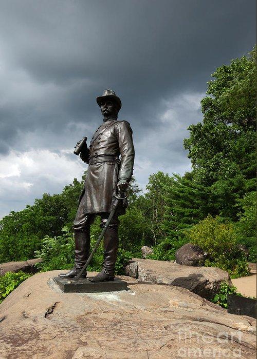 Gettysburg Greeting Card featuring the photograph General K Warren Monument Gettysburg by James Brunker