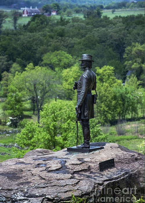 Adams County Greeting Card featuring the photograph General Kemble Warren At Little Round Top by John Greim