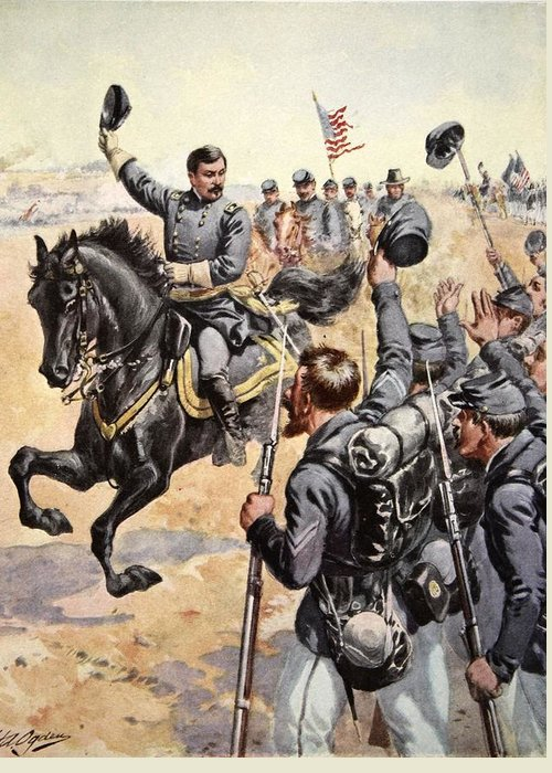 Soldiers Greeting Card featuring the drawing General Mcclellan At The Battle by Henry Alexander Ogden