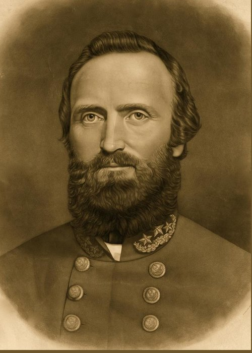 Confederacy; Confederate; South; General; Stonewall; Jackson; Civil; War; States; Between; Portrait; 1871 Greeting Card featuring the photograph General Stonewall Jackson 1871 by Anonymous