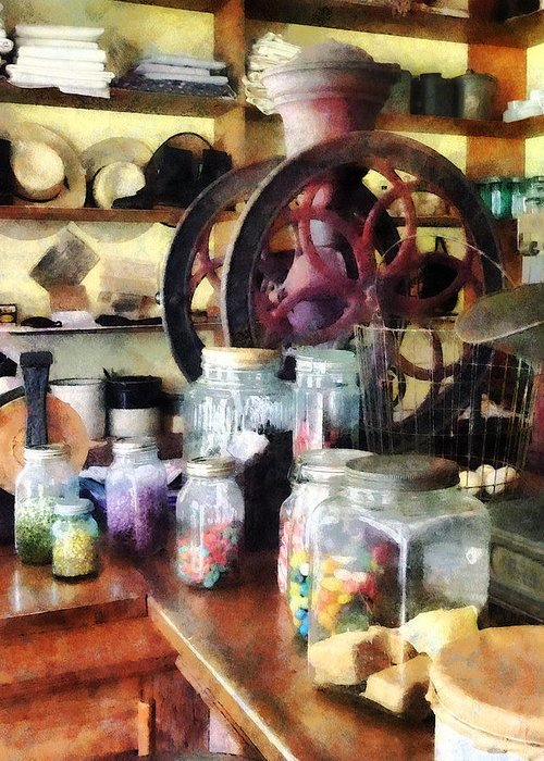 General Store Greeting Card featuring the photograph General Store With Candy Jars by Susan Savad
