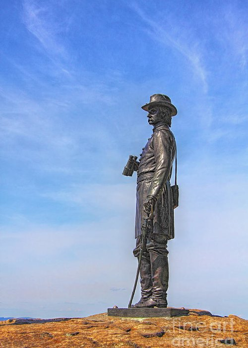 General Warren Greeting Card featuring the photograph General Warren Statue At Gettysburg by Randy Steele