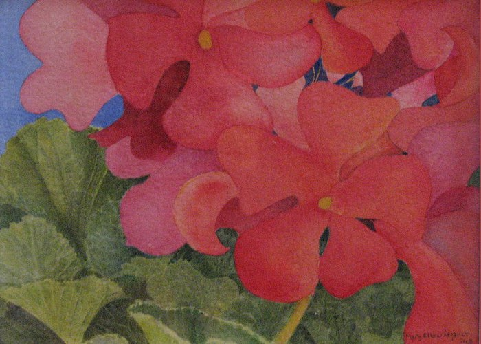 Florals Greeting Card featuring the painting Generium by Mary Ellen Mueller Legault