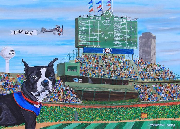 Landscape Greeting Card featuring the painting Geno At Wrigley 2014 by Mike Nahorniak