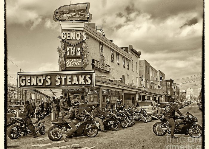 Geno's Greeting Card featuring the photograph Geno's With Cycles by Jack Paolini