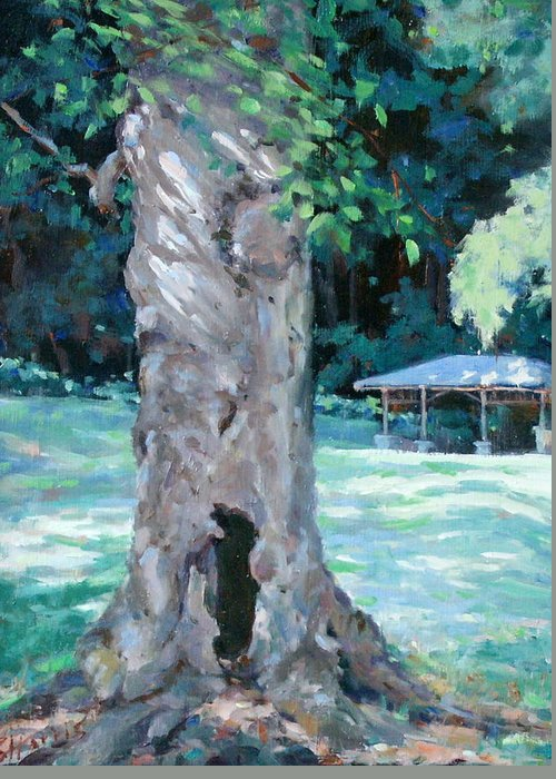 Percy Warner Park Greeting Card featuring the painting Gentle Giant by Sandra Harris