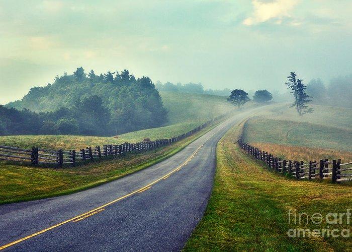 Blue Ridge Parkway Greeting Card featuring the painting Gentle Morning - Blue Ridge Parkway II by Dan Carmichael