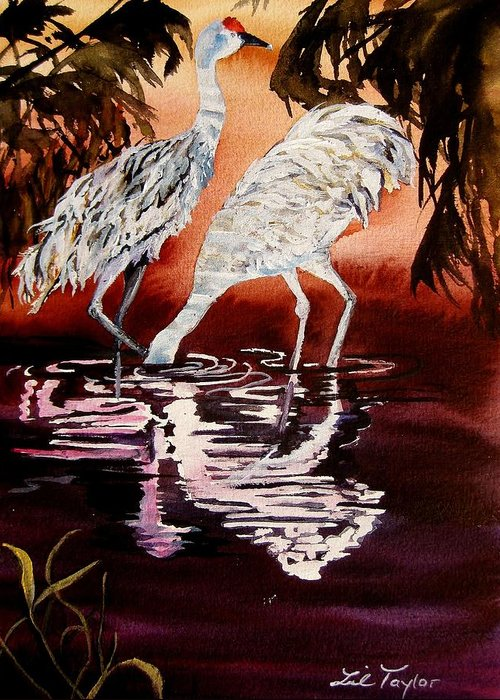 Crane Greeting Card featuring the painting Gentle Sandhills by Lil Taylor