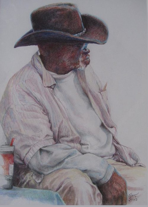 African Americans Greeting Card featuring the painting Gentleman Wearing The Dark Hat by Sharon Sorrels