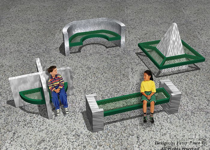 Park Benches Greeting Card featuring the sculpture Geo Benches by Peter Piatt