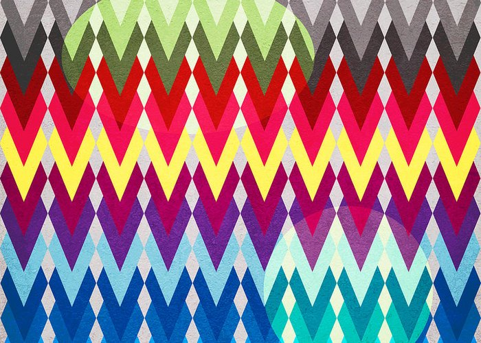 Contemporary Greeting Card featuring the digital art Geometric Colors by Mark Ashkenazi
