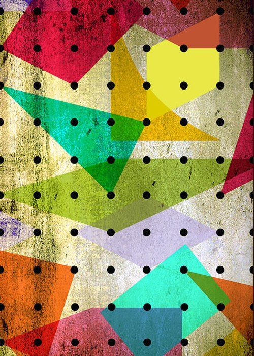 Contemporary Greeting Card featuring the painting Geometric In Colors by Mark Ashkenazi