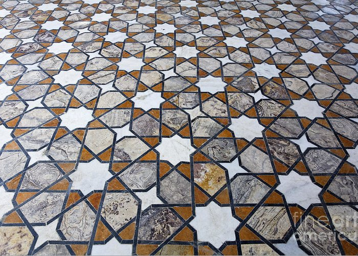 Geometric Greeting Card featuring the photograph Geometric Marble Floor Design At Lahore Fort by Robert Preston