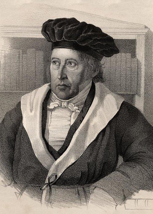 German Philosopher; Male; Portrait; Hegelian Dialectic; George; C12 Greeting Card featuring the drawing Georg Wilhelm Friedrich Hegel by German School