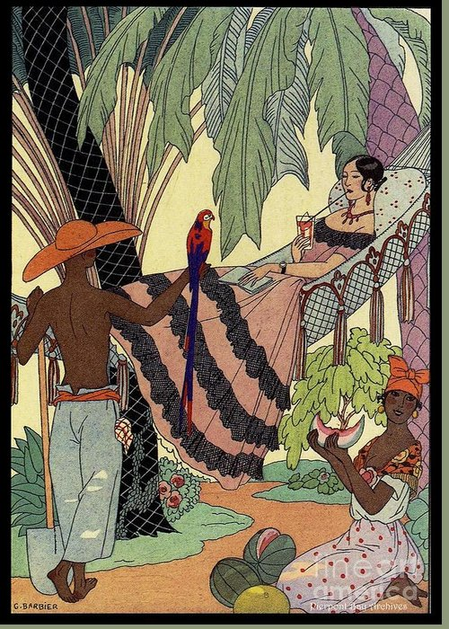 George Barbier Illustration Illustrator Full Color Negro Polynesian Workers Field Hands Watermelon Blacks Ethnic Palm Trees Lemonade Reading A Book Letter Parrot Tropical Day Scene Boudoir Doll Madame Ladies Men Art Deco Stylized Pierpont Bay Archives 1920 Drawings Greeting Card featuring the drawing George Barbier. Spanish Lady In Hammoc With Parrot. by Pierpont Bay Archives