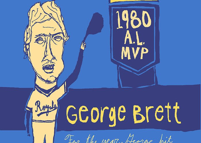 George Brett Greeting Card featuring the painting George Brett Kc Royals by Jay Perkins