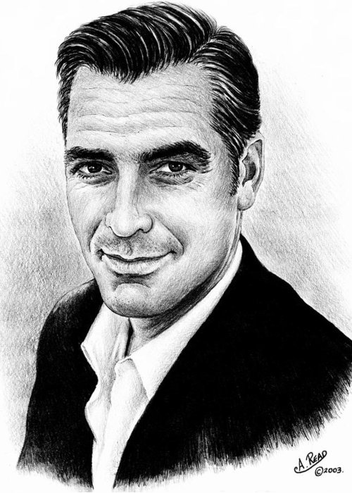 George Clooney Greeting Card featuring the drawing George Clooney by Andrew Read