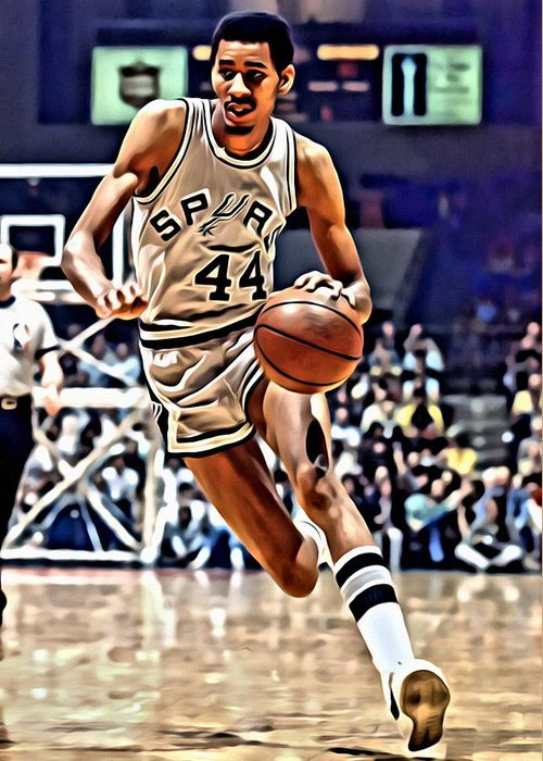 George Gervin Greeting Card featuring the painting George Gervin by Florian Rodarte
