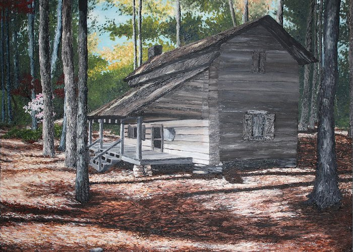 Georgia. Cabin Greeting Card featuring the painting Georgia Cabin In The Woods by Beth Parrish