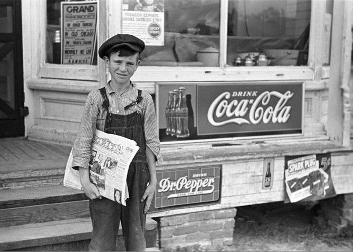 1938 Greeting Card featuring the photograph Georgia Newsboy, 1938 by Granger