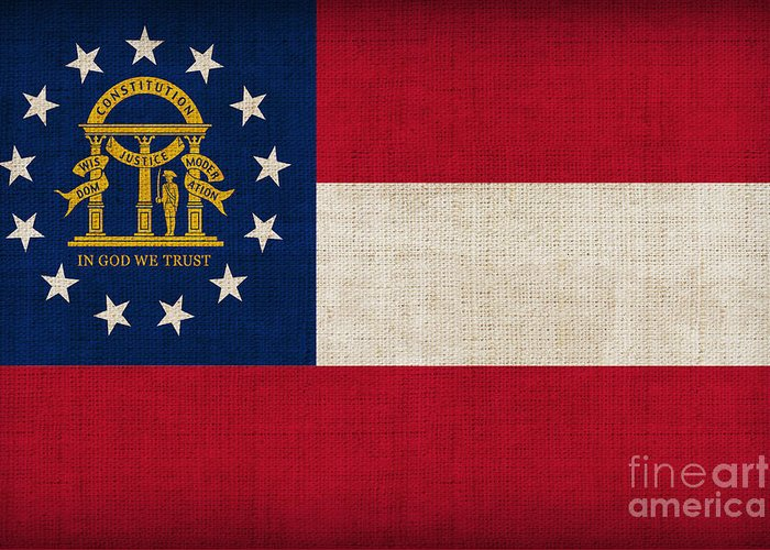 Georgia Greeting Card featuring the painting Georgia State Flag by Pixel Chimp
