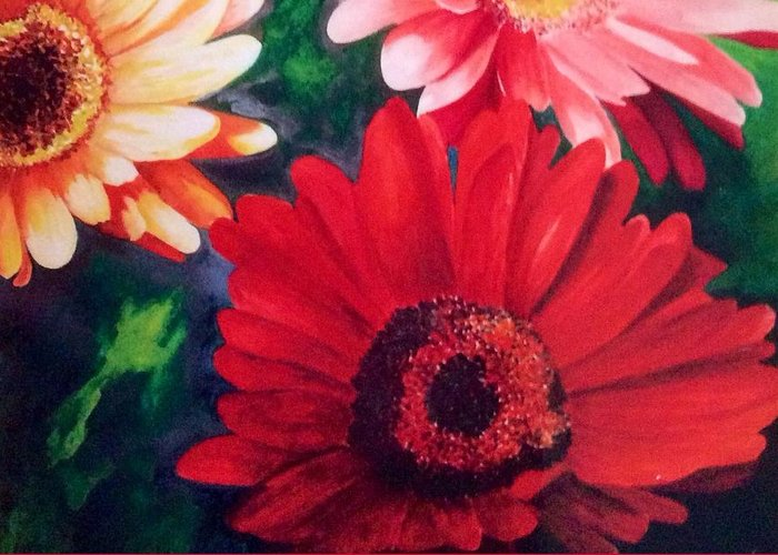 Flower Greeting Card featuring the painting Gerber Daisies In Bloom by Nancy Hanrath