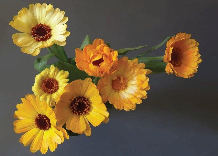 Arrangement Greeting Card featuring the digital art Gerbera bouquet by Adrian Bud