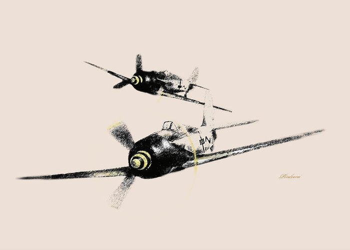 Airplanes.world War Two Airplanes Greeting Card featuring the photograph German 190 by Tony Pierleoni