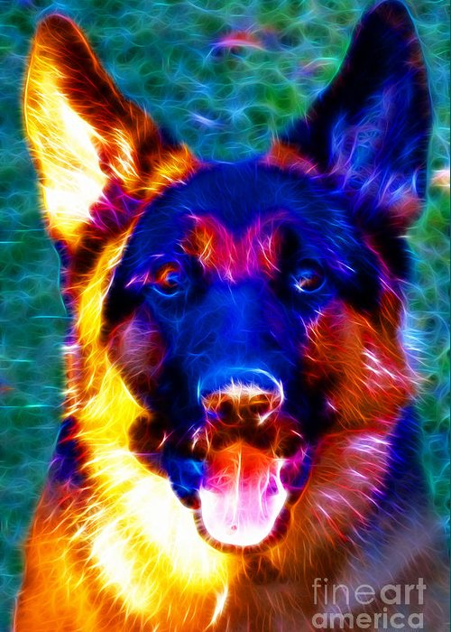 Animal Greeting Card featuring the photograph German Shepard - Electric by Wingsdomain Art and Photography