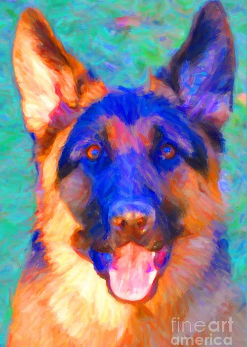 Animal Greeting Card featuring the photograph German Shepard - Painterly by Wingsdomain Art and Photography
