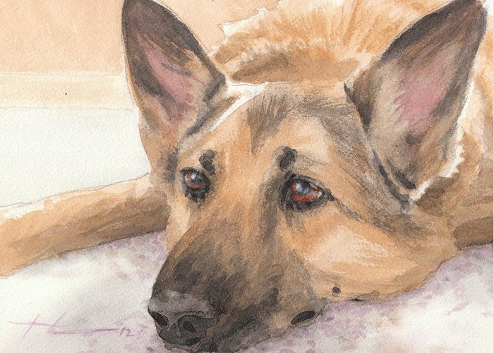 <a Href=http://miketheuer.com Target =_blank>www.miketheuer.com</a> German Shepherd Laying Watercolor Portrait Greeting Card featuring the drawing German Shepherd Laying Watercolor Portrait by Mike Theuer