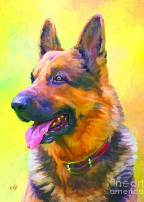 Dog Paintings Greeting Card featuring the painting German Shepherd Portrait by Iain McDonald