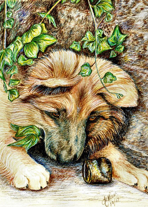 Nature Greeting Card featuring the drawing German Shepherd Pup by Joy Reese