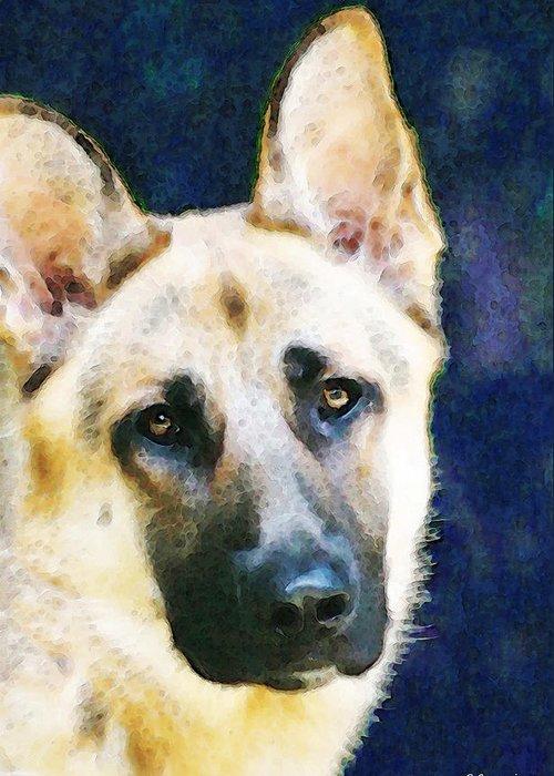 German Shepherd Greeting Card featuring the painting German Shepherd - Soul by Sharon Cummings