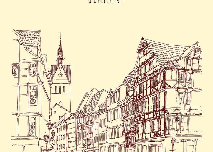 Door Greeting Card featuring the digital art German Town, Walking Street, Timber by Babayuka