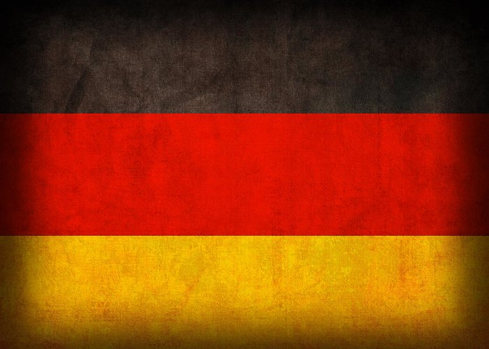 Germany Flag German Europe Dresden Hamburg Berlin Dusseldorf Greeting Card featuring the mixed media Germany Flag Vintage Distressed Finish by Design Turnpike