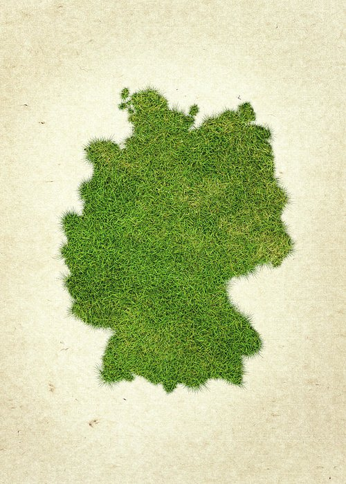 Map Of Germany Greeting Card featuring the photograph Germany Grass Map by Aged Pixel