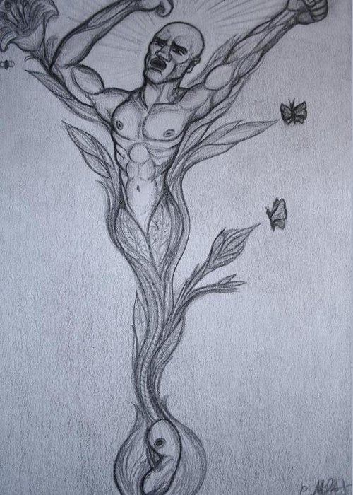 Germinal Greeting Card featuring the drawing Germinal The Birth Of The Free Man by Cindy MILLET