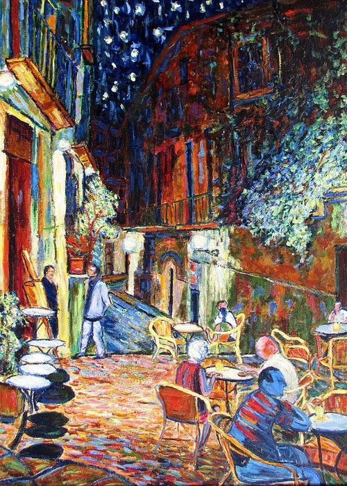 Impressionsist Spain Cafe Night Stars Van Gogh Greeting Card featuring the painting Gerona by Rob White