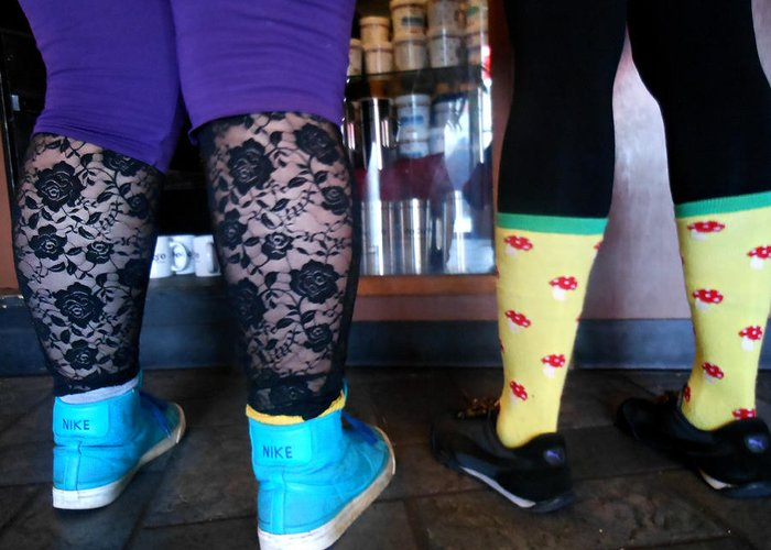 Stockings Greeting Card featuring the photograph Getting Coffee In Portland by Sherry Dooley