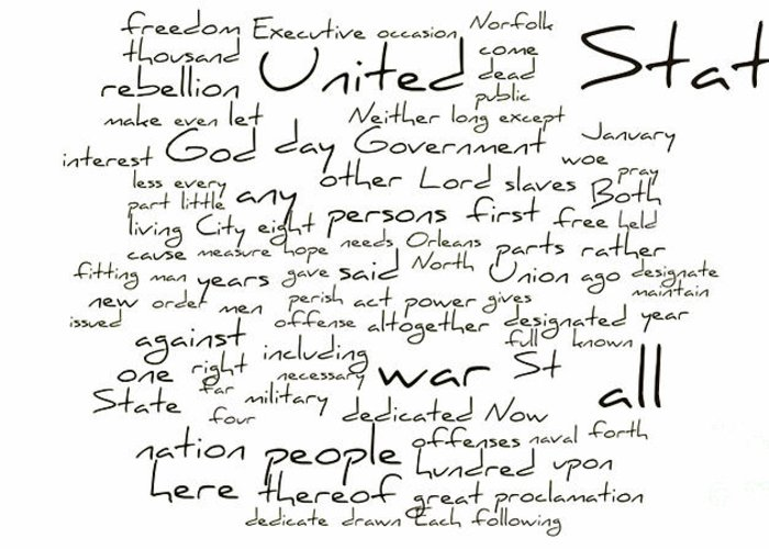 Abraham Lincoln Greeting Card featuring the photograph Gettysburg Address-emancipation Proclamation-second Inaugural Address-word Cloud by David Bearden