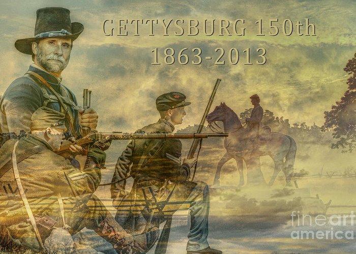 Gettysburg Anniversary 150 Years Greeting Card featuring the digital art Gettysburg Anniversary 150 Years by Randy Steele