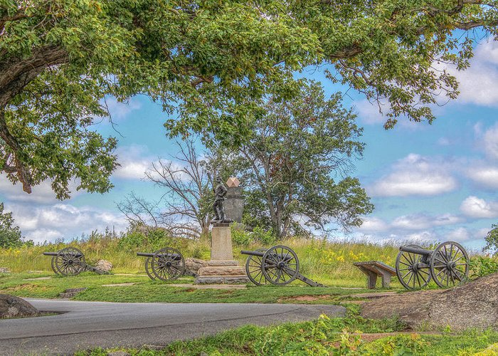 4th New York Greeting Card featuring the photograph Gettysburg Battlefield 4th New York by Randy Steele