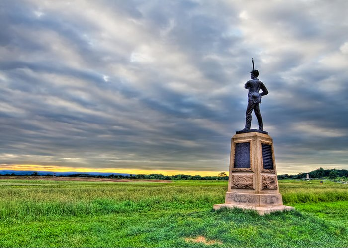 Adams Greeting Card featuring the photograph Gettysburg Battlefield Soldier Never Rests by Andres Leon