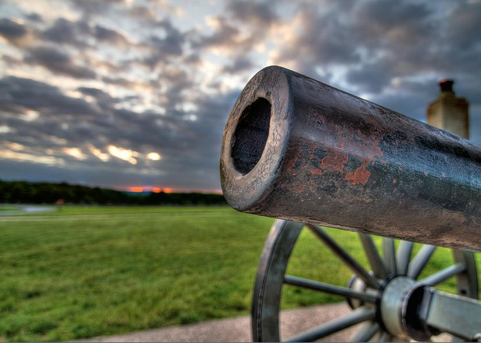 Abraham Greeting Card featuring the photograph Gettysburg Canon Closeup by Andres Leon