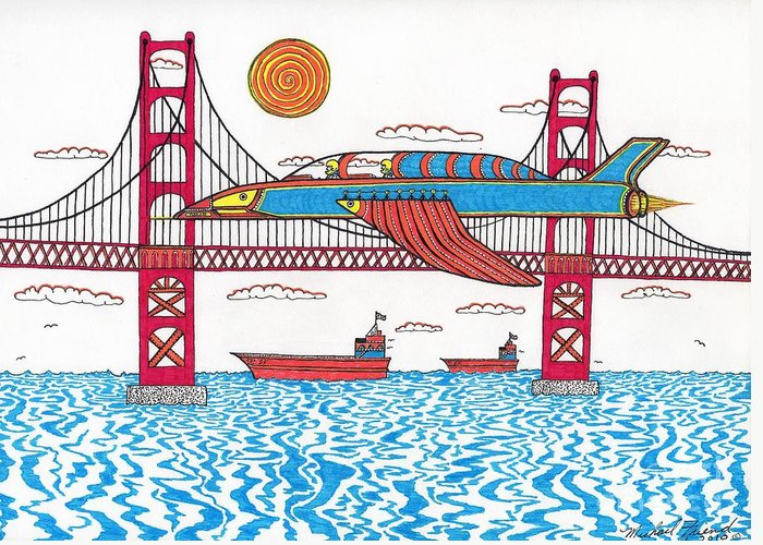San Francisco Greeting Card featuring the drawing G.g. Fly By by Michael Friend