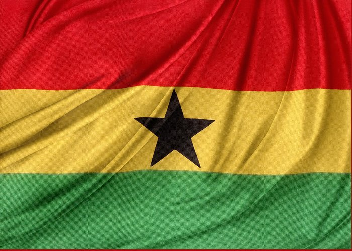 Background Greeting Card featuring the photograph Ghana Flag by Les Cunliffe