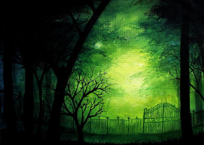 Halloween Greeting Card featuring the painting Ghastly Gate by Erin Scott